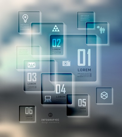 plat: Transparent business Infographics, plat elements. Shadows options, diagram on blur landscape can be used for workflow layout, banner, step up options,  number options,  web template