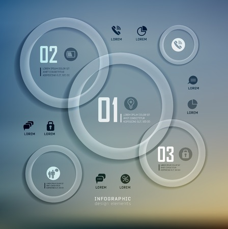 web template: Transparent web site, business Infographics, plat elements on blur landscape can be used for workflow layout, banner, step up options,  number options,  web template Illustration