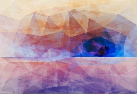 sammer: Polygonal seaside view sammer poster  with typography elements. Polygonal background illustration