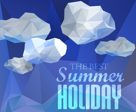 Polygonal sky  and cloud, sammer poster with typography elements. Polygonal background, illustration