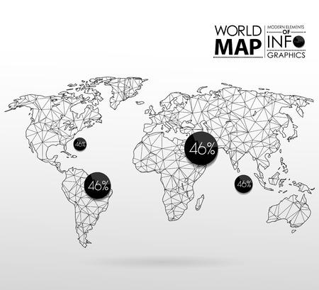 wereldbol: Wereldkaart achtergrond in veelhoekige stijl. Moderne elementen van informatie graphics. Wereldkaart Stock Illustratie