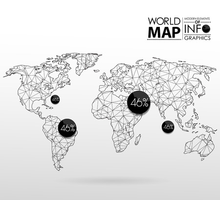 travel map: World map background in polygonal style. Modern elements of info graphics. World Map