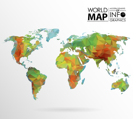 Physical World map background in polygonal style. Modern elements of info graphics. World Map