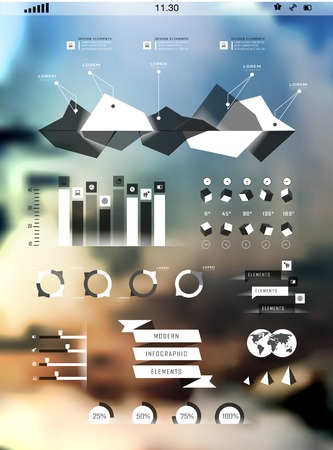 growth rate: Set elements of infographics on blur background. Modern elements of info graphics Illustration