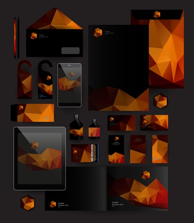 pattern corporate identity orange: Abstract polygonal business set. Geometric, triangles. Corporate identity templates: blank, business cards, badge, envelope, pen, Folder for documents, Tablet PC,  Mobile Phone