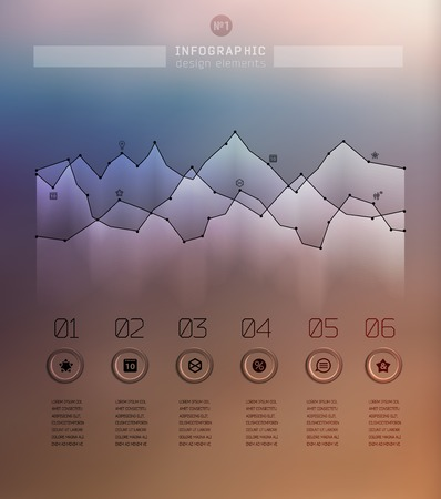 step up: Transparent business Infographics diagram on blur landscape can be used for workflow layout, banner, step up options, web design. Illustration