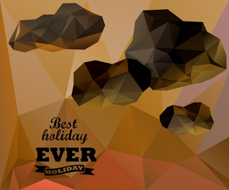 Polygonal sky  and cloud, sammer poster. Polygonal background, illustration