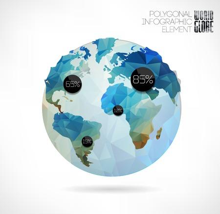 wereldbol: Vector wereldbol, 3d driehoekige kaart van de aarde. Moderne elementen van informatie graphics. Wereldkaart