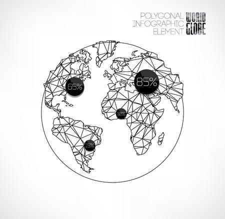 Modern elements of info graphics. Thin line polygonal World globe