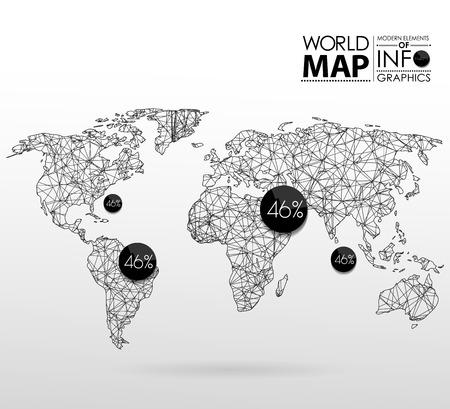 Weltkarte Hintergrund in polygonalen Stil. Moderne Elemente Infografiken. Weltkarte Standard-Bild - 42599319