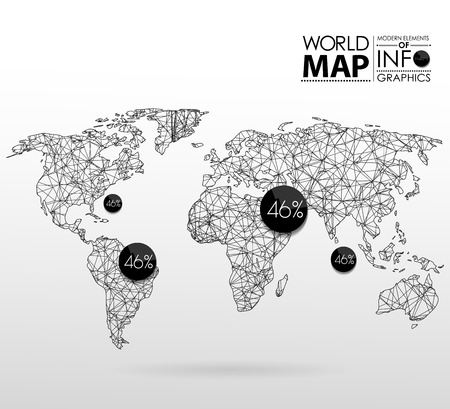 global communication: World map background in polygonal style. Modern elements of info graphics. World Map