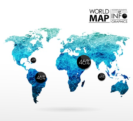 world design: World map background in polygonal style. Modern elements of info graphics. World Map