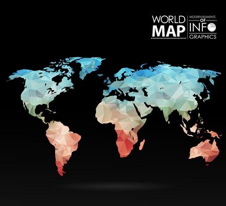 Wereldkaart achtergrond in veelhoekige stijl. Moderne elementen van info graphics. Wereldkaart Stock Illustratie