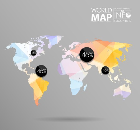 shape triangle: World map background in polygonal style. Modern elements of info graphics. World Map