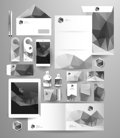 pattern corporate identity orange: Abstract polygonal business set. Geometric, triangles. Corporate identity templates blank, business cards, badge, envelope, pen, Folder for documents, Tablet PC,  Mobile Phone