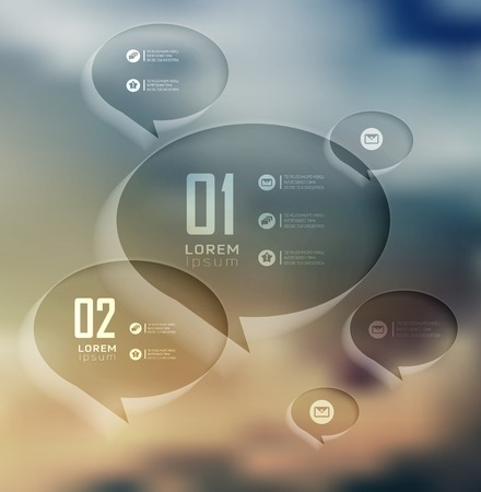 web template: Transparent bubble, Infographics on blur landscape can be used for workflow layout, banner, step up options,  number options,  web template Illustration