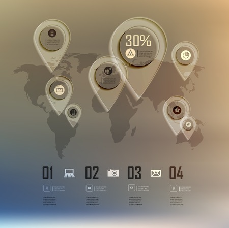 step up: Transparent business Infographics world map on blur landscape can be used for workflow layout, banner, step up options, web design.
