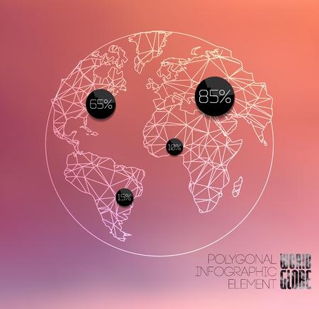 bola del mundo: Elementos modernos de información gráfica. Línea fina del globo del mundo poligonal Vectores