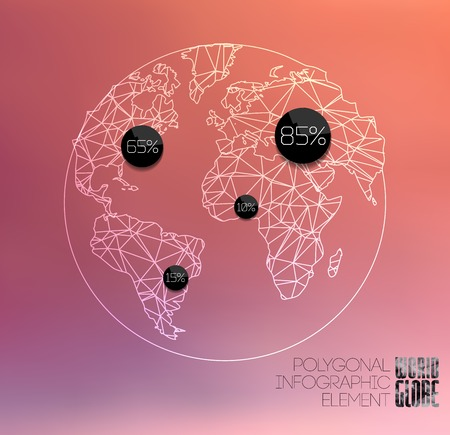 geographical locations: Modern elements of info graphics. Thin line polygonal World globe