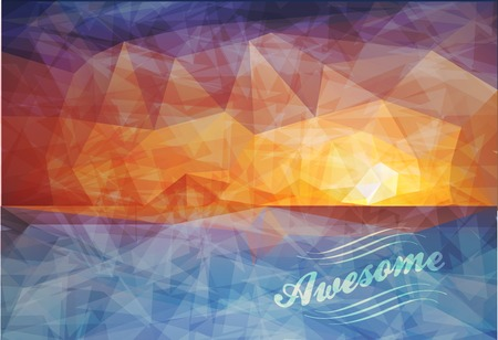 sammer: Polygonal seaside view sammer poster  with typography elements. Polygonal background illustration