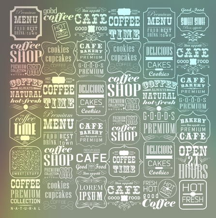 coffee beans background: Mega set of thin line Vintage Retro Coffee  Labels and typography. Coffee decoration collection Illustration