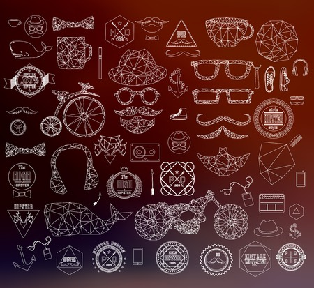 anchor man: Modern thin line Hipster style elements, icon and object can be used for retro vintage website, info-graphics, banner