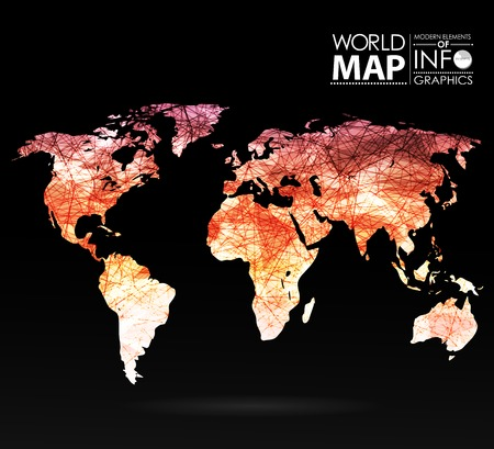 digital world: World map background in polygonal style. Modern elements of info graphics. World Map