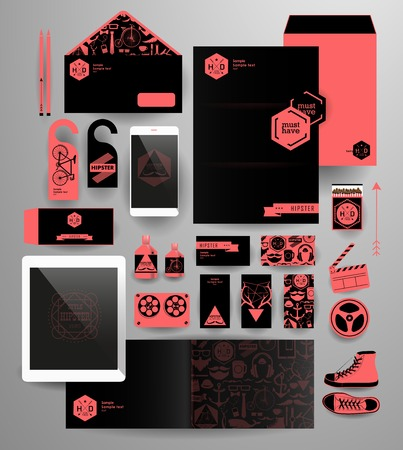 phone business: Abstract  business set in hipster style. Corporate identity templates blank, business cards, badge, envelope, pen, Folder for documents, Tablet PC,  Mobile Phone