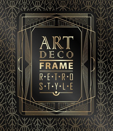 contemporary art: Art deco geometric vintage frame can be used for invitation, congratulation