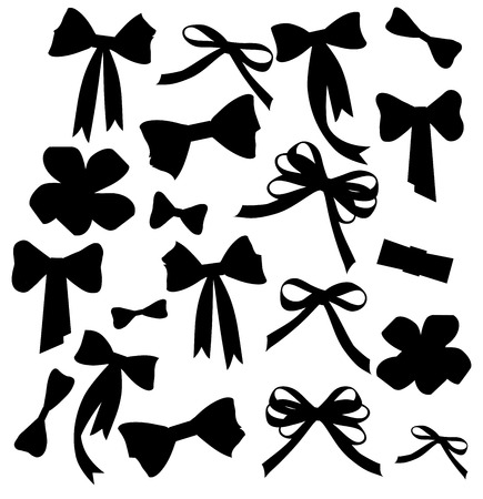 gift bow: Black and white silhouette image of bow set Black and white silhouette image of bow set