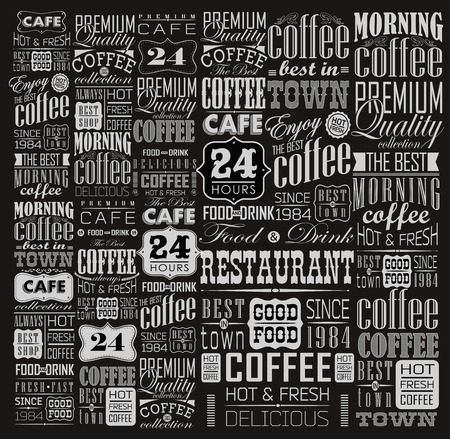 coffee beans white background: Mega set of Vintage Retro Coffee  Labels and typography. Coffee decoration collection