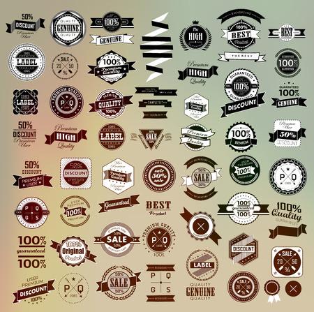 Mega set of retro vintage ribbons and label