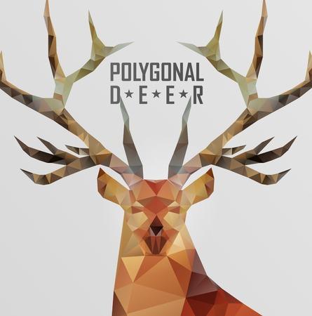 Abstract polygonal deer. Geometric hipster illustration. Polygonal antlers. Ilustração