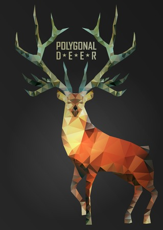 Abstract polygonal deer. Geometric hipster illustration. Polygonal antlers. Vettoriali