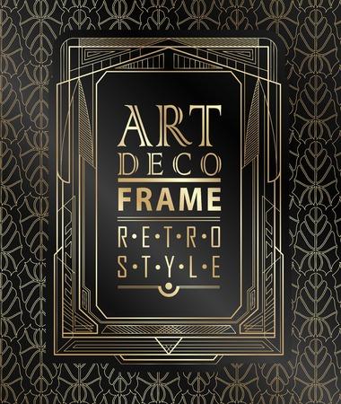 marcos decorativos: Art deco marco geométrico de la vendimia se puede utilizar para la invitación, felicitación Vectores