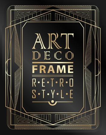 thirties: Art deco geometric vintage frame can be used for invitation, congratulation