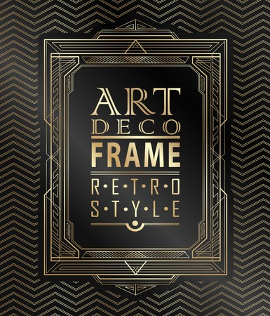Art deco geometric vintage frame can be used for invitation, congratulation