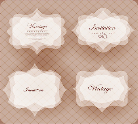 dinner date: Elegant transparent invitation card and label in retro style can be used for invitation, congratulation Illustration