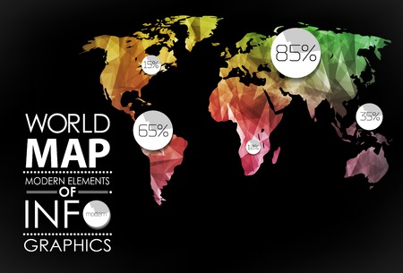 global design: Polygonal World map card. Modern geometrical elements of info graphics. World Map, typography.