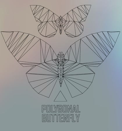 butterfly flying: Colorful polygonal butterfly flying. Geometric illustration Colorful polygonal butterfly flying. Geometric illustration