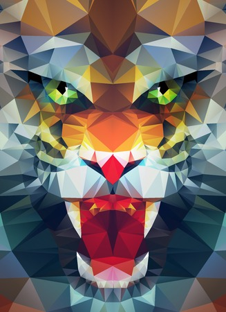 Abstract polygonal tiger. Geometric hipster illustration. Polygonal poster Vettoriali