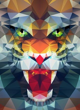 Résumé tigre polygonale. Géométrique hippie illustration. Affiche polygonale Banque d'images - 42749552