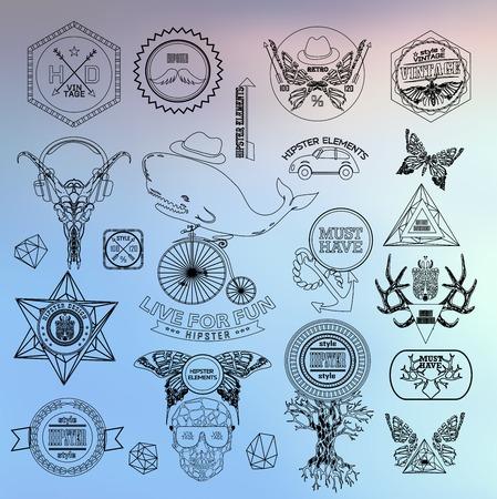 sacral: Hipster label, icon, elements, set of vintage hipster label with gothic, sacral sign and symbol