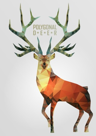 christmas deer: Abstract polygonal deer. Geometric hipster illustration. Polygonal antlers. Illustration