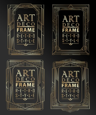 diagonal lines: Art deco geometric vintage frame can be used for invitation, congratulation