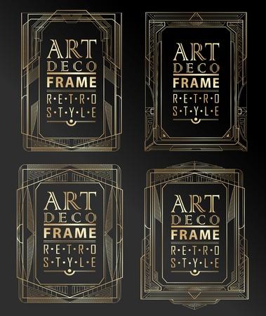art line: Art deco marco geom�trico de la vendimia se puede utilizar para la invitaci�n, felicitaci�n Vectores