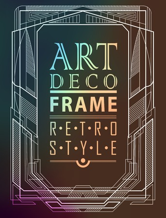 art deco border: Art deco geometric vintage frame can be used for invitation, congratulation