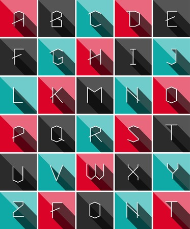 square button: Colofrul Flat icons alphabet with long shadows