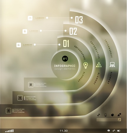 web template: Transparent business Infographics, plat elements. Shadows options, diagram on blur landscape can be used for workflow layout, banner, step up options,  number options,  web template