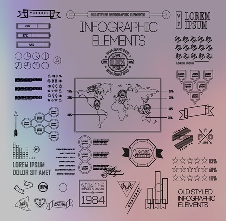 plat: Thin linebusiness Infographics, plat elements. Options, diagram on blur landscape can be used for workflow layout, banner, step up options,  number options,  web template